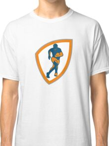 Rugby Player Running Shield Silhouette Classic T-Shirt