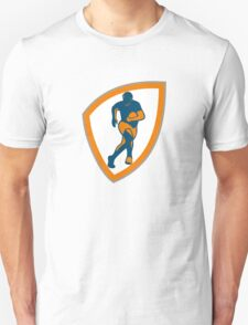 Rugby Player Running Shield Silhouette Unisex T-Shirt
