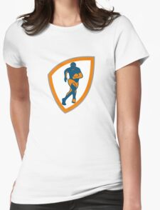 Rugby Player Running Shield Silhouette Womens Fitted T-Shirt