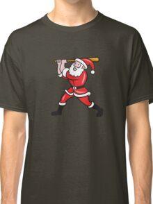 Santa Baseball Player Batting Isolated Cartoon Classic T-Shirt
