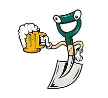 Shovel Holding Beer Mug Cartoon by patrimonio