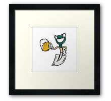 Shovel Holding Beer Mug Cartoon Framed Print