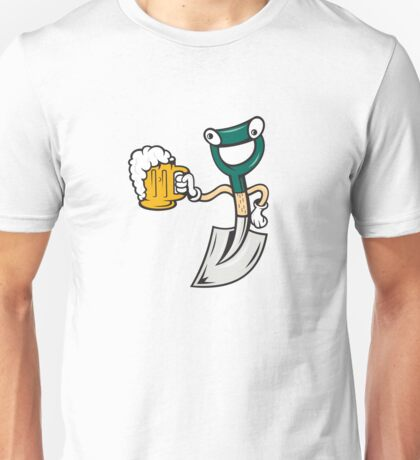 Shovel Holding Beer Mug Cartoon Unisex T-Shirt