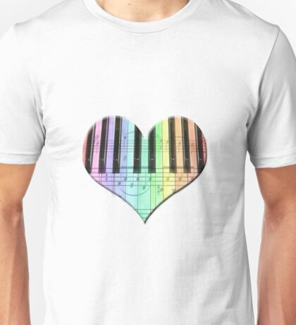 Colorful Piano Keyboard and Notes Unisex T-Shirt