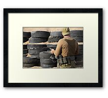 Shooter with a Kalashnikov assault rifle Framed Print
