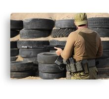 Shooter with a Kalashnikov assault rifle Canvas Print