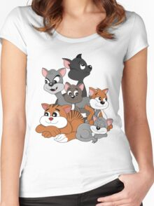 Cartoon cats Women's Fitted Scoop T-Shirt