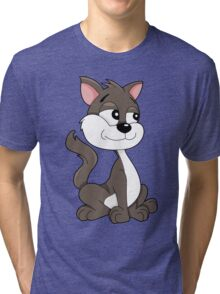 Cute cartoon kitten Tri-blend T-Shirt