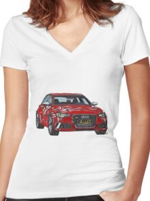 Audi RS6 Quattro Pen and Ink Sketch Women's Fitted V-Neck T-Shirt