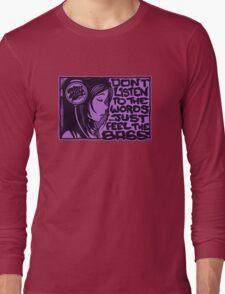 Headphone Girl Purple Long Sleeve T-Shirt