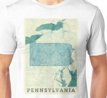 Pennsylvania Map Blue Vintage Unisex T-Shirt