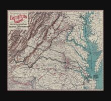 Civil War Maps 1075 Map showing the location of battle fields of Virginia One Piece - Short Sleeve