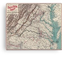 Civil War Maps 1075 Map showing the location of battle fields of Virginia Canvas Print