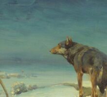 Alfred Kowalski Lone Wolf in Winter Oil Painting Sticker