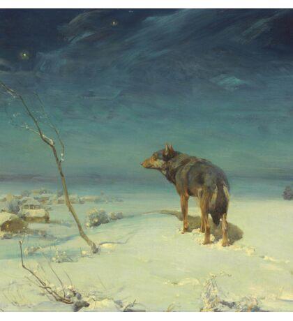 Alfred Kowalski Lone Wolf in Winter Oil Painting Sticker