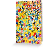 SWEPT AWAY 2 - Vibrant Colorful Rainbow Mango Yellow Waves Mermaid Splash Abstract Acrylic Painting Greeting Card