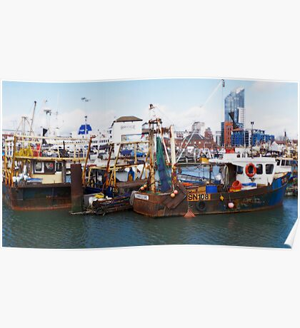 Portsmouth Harbour - Boats Await Poster