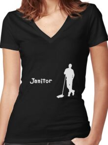 Janitor Women's Fitted V-Neck T-Shirt