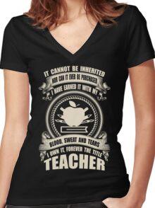 Forever The Title - Teacher Women's Fitted V-Neck T-Shirt
