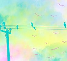 Birds in watercolor city by allieavina
