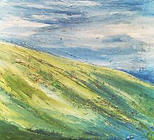 Lush Green Hills Mountain Painting by artisintheattic