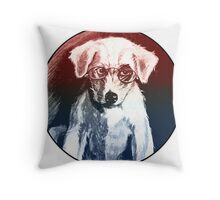 Dog With Glasses Throw Pillow