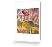 White Barn Landscape Greeting Card