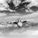 Avro Vulcan head on above clouds B&W version by Gary Eason