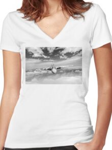 Avro Vulcan head on above clouds B&W version Women's Fitted V-Neck T-Shirt