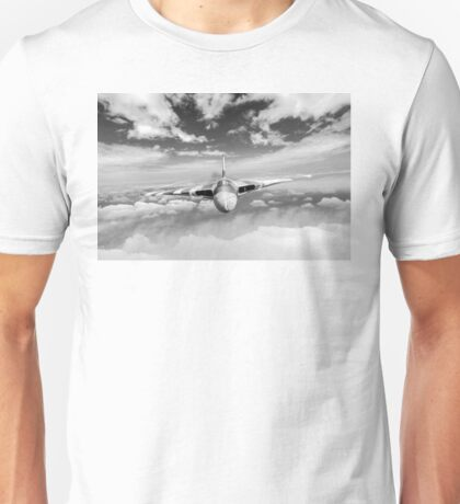 Avro Vulcan head on above clouds B&W version Unisex T-Shirt