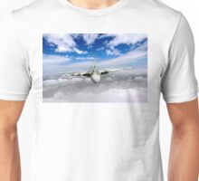 Avro Vulcan head on above clouds Unisex T-Shirt