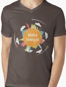 World Traveler Mens V-Neck T-Shirt