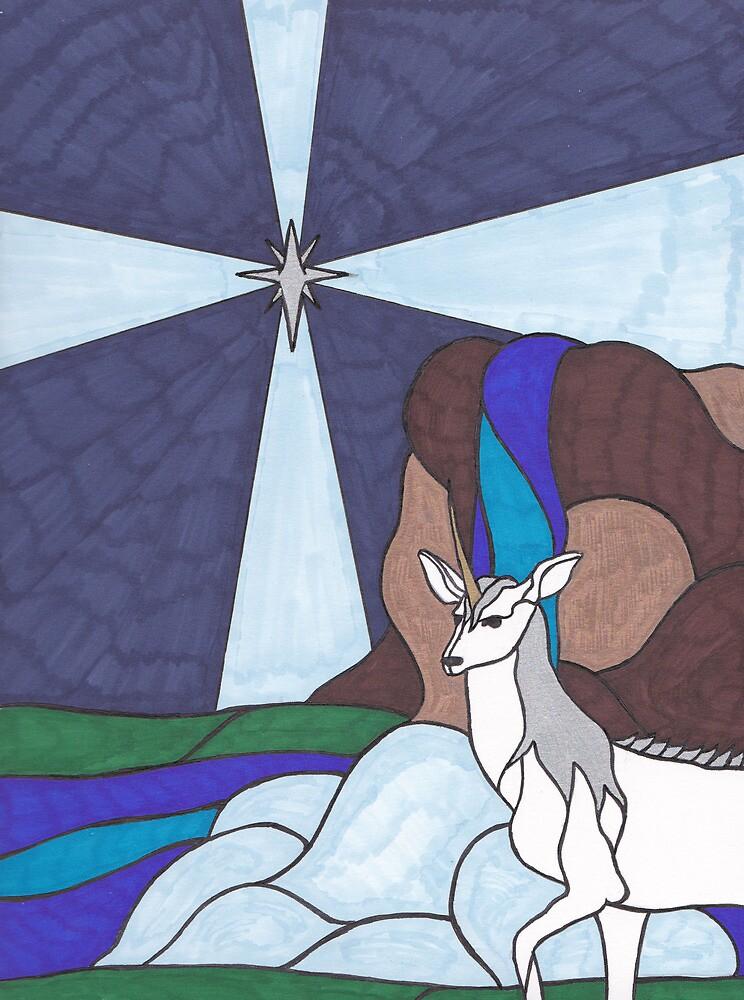 Tarot - The Star - Unicorn by chrisondra