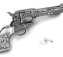Colt Single Action Army Revolver drawing by John Harding