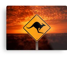 Be Careful Kangaroos! Metal Print