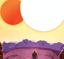 Binary Star System Astronaut on Exoplanet Kepler 16b Sticker