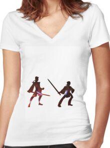 Obi Wan Kenobi VS Anakin Skywalker Women's Fitted V-Neck T-Shirt