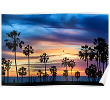 Sunset near Santa Monica Pier California Poster
