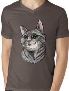 Blue Tabby Portrait~ Silver Mens V-Neck T-Shirt