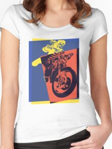 Pop Art Skeleton Motorcycle Women's Fitted Scoop T-Shirt
