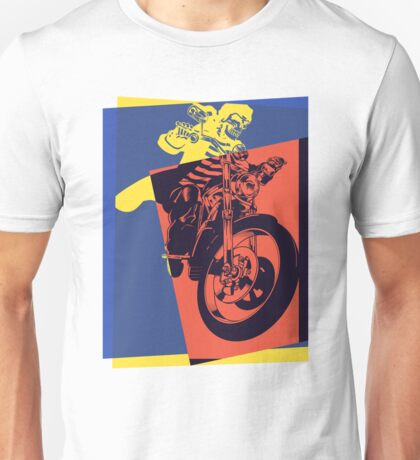 Pop Art Skeleton Motorcycle Unisex T-Shirt