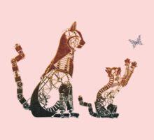 Steampunk bronze cat and kitten One Piece - Short Sleeve