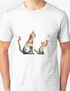 Steampunk bronze cat and kitten Unisex T-Shirt