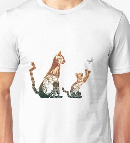 Steampunk bronze cat and kitten Unisex T-Shirt