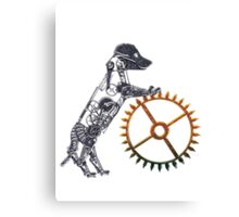 Steampunk Silver Puppy Canvas Print