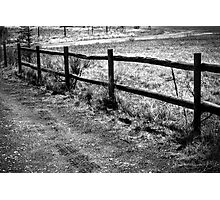 Wood Fence and Tire Tracks Photographic Print