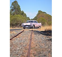 Pink Caddy On Rails Photographic Print