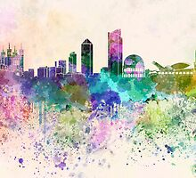 Lyon skyline in watercolor background by Pablo Romero