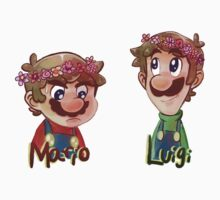 Mario and Luigi wearing Flower Crowns T-Shirt