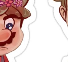 Mario and Luigi wearing Flower Crowns Sticker